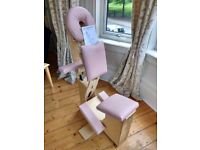 Vintage Massage chair, folds up to allow easy movement between clients or to save space