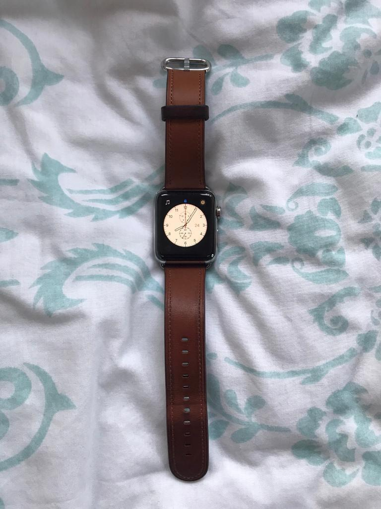 Apple Watch Series 2 stainless steel with leather strapin Wantage, OxfordshireGumtree - Apple Watch Series 2 Stainless Steel with Apple saddle brown leather strap. Also included blue Apple sports band. And 2 Moko straps silver Milanese loop and blue and green nylon strap.9 months old and in excellent condition looking to raise money for...