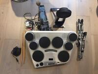 Yamaha drum set DD65, kick pedal KP65, snare stand and drum sticks