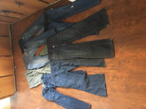 "7 pair size small 30"" inseam/short girl mat pants/jeans"