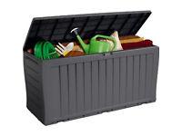 Grey Keter Wood Effect Plastic Garden Storage Box