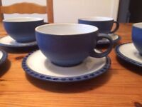 DENBY Reflex Blue * Five Teacups and Saucers *