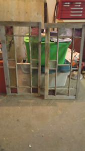 2 antique wooden windows with stain glass