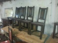 6 Antique leather seated chairs