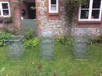 Metal storage containers with baskets x3