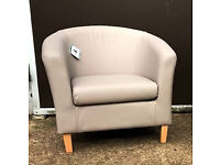 Brand New Leather Effect Tub Chair - Mocha