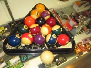 Set Of Standard Size Pool Balls With Rack For Sale