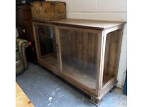 Fantastic Vintage Pitch Pine Glass Shop Counter Display Unit - Uk Delivery