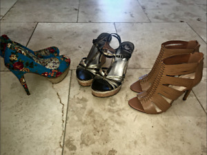 3 pairs of womens high heels  size 8.5 Never Worn Excellent Cond