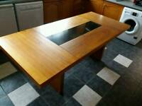 Large 6/8 seater dining table Dark Brown and Glass Centre