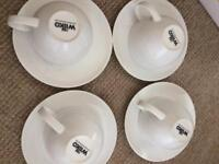 Wilkins large cups teaset and pestle and mortar as seen