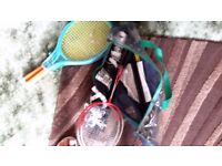 Double badminton set unused and two new tennis raquets