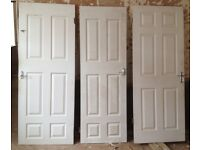 4 WOODEN INTERNAL DOORS (in white & brown), £10 for ALL 4!