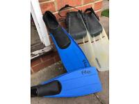 Flippers 2 pairs - swimming diving