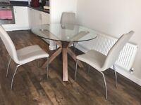 Glass Dining Table - Walnut Finish