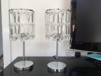 Crystal Chandelier style side lamps x2