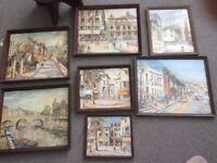 7 Framed George Hann Prints retro / vintage