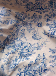 FRENCH COUNTRY BLUE/WHITE TOILE FABRIC