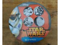 BNIB Star Wars Plates - set of 4, monochrome, genuine Disney