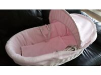 Pink wicker moses basket and rocking stand