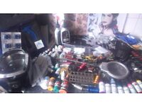 Professional tattoo and piercing equipment.