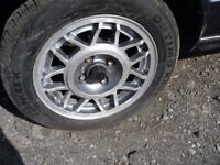 """ORIGINAL VW 14"""" ALLOY WHEELS WITH 4 EXCELLENT TYRES"""