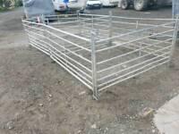 Eight livestock holding handling gate hurdles tractor