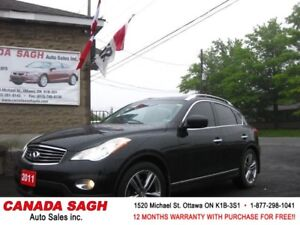 2011 INFINITI EX35 LUXURIOUS LOADED AWD, 12M.WRTY+SAFETY $15990