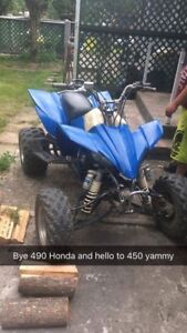 2003 yzf450 racing atv trade for sled also