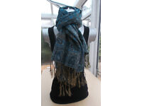 Ladies Scarf Color Blue,and Gold.