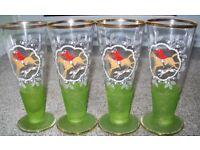 Set of 4 Vintage Glasses/Goblets - Horse & Hound Motif - Frosted Green Base