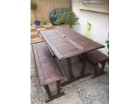 Garden Dining Table and Benches