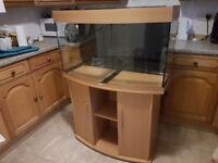 Fish Tank: Juwel Vision 180 - Bow Fronted Aquarium & Beech Cabinet