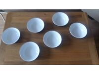 6 Denby bowls blue and white