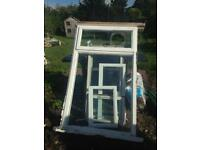 FREE large window frames with laminated glass to stop glass shatter greenhouse, cold frame .
