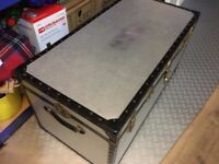 Storage Vintage steamer trunk chest, aluminium with paper lined