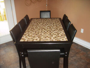 MOSAIC KITCHEN/DINING TABLE AND 8 PARSONS CHAIRS