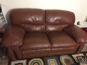 Super comfy brown leather coach in good condition (moving sale)