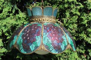 LAMPE ANTIQUE,verre et cuivre,parfait état,motif de raisins,RARE