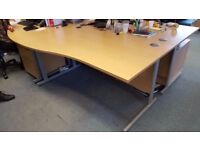 FOR SALE: Office furniture - Large Light Wood Ergonomic Desks