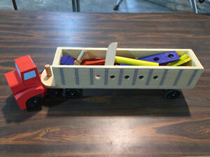 Melissa and Doug wooden truck set