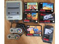 Super Nintendo SNES PAL console + 4x games, controllers, power supply + EXTRAS