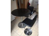Round Granite Top Kitchen Table With 2 Height Adjustable Gas Lift Bar Stools