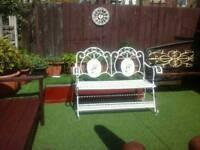 Wrought iron fold away garden bench