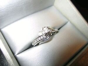 Peoples Diamond Ring w/Band - 14k Solid White Gold