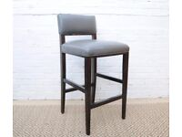Grey Leather Bar Stool with Ebonised Wooden Legs