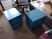 2 Teal Blue IKEA Malm Nightstands