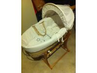 White Wicker Moses Basket For Sale £15 O.N.O