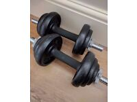 2x York Cast Iron Dumbells 20kg