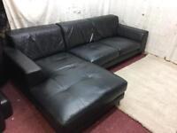 Black leather left handed corner sofa excellent condition